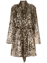 Attico Sequins Embellished Coat Metallic
