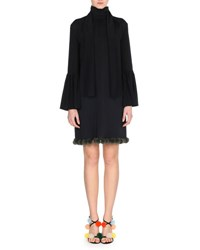 Fendi Long Sleeve Cady Dress W Fur Pompom Trim Black