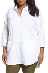 Eileen Fisher Plus Size Women's Organic Linen Blend Tunic White