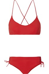 Emma Pake Chiara Calinda Lace Up Halterneck Bikini Red