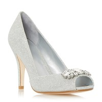 Linea Dapple Jewel Peep Toe High Court Shoes Silver