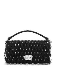 Miu Miu Swallow Print Shoulder Bag Black