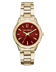 Karl Lagerfeld Quilted Rose Goldtone Three Hand Watch