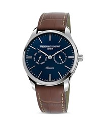 Frederique Constant Classic Quartz Watch 40Mm Blue Brown
