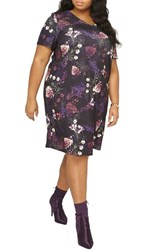 Dorothy Perkins Plus Size Women's Floral Print Shift Dress Purple