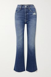Mother The Tripper Weekender Distressed High Rise Flared Jeans Blue