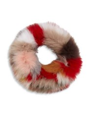 Surell Multicolor Fox Fur Cowl Scarf Red Multi