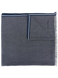 Salvatore Ferragamo Patterned Striped Edge Scarf Blue