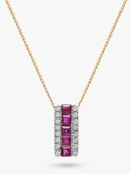 A B Davis 9Ct Gold Diamond And Ruby Rectangular Pendant Necklace