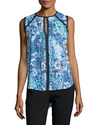 T Tahari Norma Floral Print Sleeveless Blouse Cloud