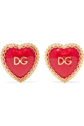 Dolce And Gabbana Gold Tone Enamel Clip Earrings One Size Gbp