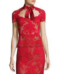 Marchesa Lace Top With Satin Necktie Red