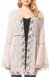 Willow And Clay Velvet Lace Kimono Cardigan Pearl