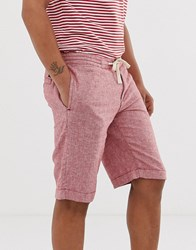 Tom Tailor Relaxed Fit Linen Look Shorts Red
