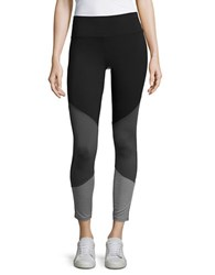 Ivanka Trump Colorblock Cropped Leggings Black Grey