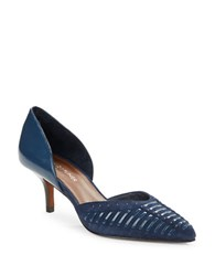 Donald J Pliner D Orsay Patent Leather And Suede Point Toe Pumps Ocean Blue