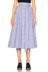 Lisa Marie Fernandez Beach Skirt In Blue Checkered And Plaid