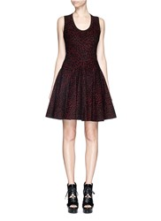 Azzedine Alaia 'Asteroid' Velour Knit Flare Dress Black