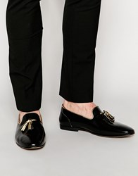 Asos Tassel Loafers In Black Leather With Gold Trims Black