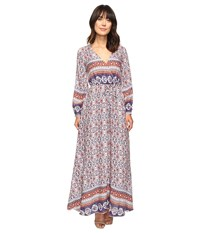 Brigitte Bailey Ravenna Long Sleeve V Neck Maxi Dress Rust Navy Women's Dress Tan