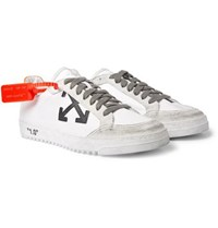 Off White 2.0 Distressed Suede Trimmed Leather Sneakers White