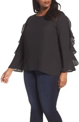 London Times Plus Size Women's Ruffle Bell Sleeve Blouse Black