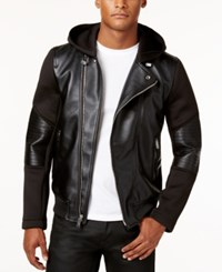 Guess Men's Faux Leather Stretch Contrast Moto Jacket Black