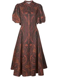 Adam By Adam Lippes Printed Puff Sleeved Dress Red