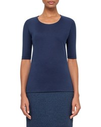 Akris Scoop Neck Half Sleeve Top Bluejay