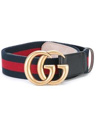 Gucci Web Canvas Belt Blue