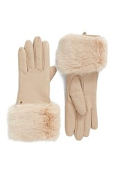 Ted Baker Women's London Leather Gloves With Faux Fur Cuff Camel