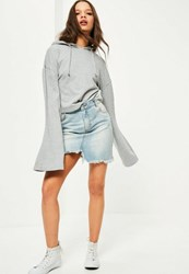 Missguided Grey Cropped Flared Sleeve Hoodie