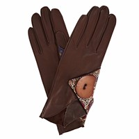 Gizelle Renee Padma Dark Brown Leather Gloves With Bm Liberty Tana Lawn