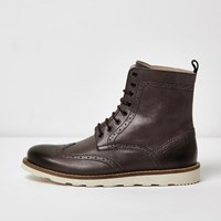 River Island Mens Grey Leather High Ankle Brogue Boots