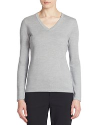 Lord And Taylor Merino Wool Basic V Neck Sweater Platinum Heather