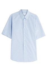 Jil Sander Short Sleeve Printed Cotton Shirt Blue
