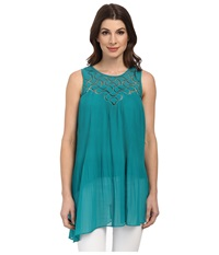 Adrianna Papell Pleated Asymmetric Tunic Turquoise Women's Blouse Blue