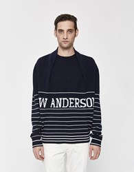 J.W.Anderson Logo Knitted Sweater Navy