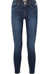 Frame Le High Distressed Skinny Jeans Mid Denim