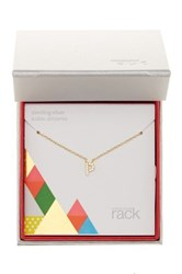Nordstrom Rack Gold Plated Sterling Silver Pave Cz 'P' Initial Pendant Necklace Metallic