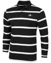 Young And Reckless Men's Thin Striped Rugby Polo Shirt Black White