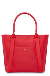 Vessel Signature 2.0 Large Faux Leather Tote Bag Red Pebbled Red