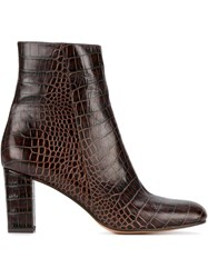Maryam Nassir Zadeh Alligator Embossed Agnes Boots Brown