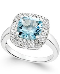 Macy's Aquamarine 1 7 8 Ct. T.W. And Diamond 1 3 Ct. T.W. Halo Ring 14K White Gold Blue