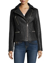 Dawn Levy Asymmetric Zip Quilted Leather Moto Jacket Black