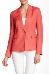 Dex Notch Lapel Linen Blend Blazer Red