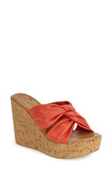 Women's Callisto 'Rachel' Knotted Strap Wedge Sandal Coral