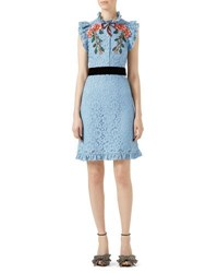 Gucci Embroidered Cluny Lace Dress Light Blue Blue Pattern