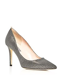 Sarah Jessica Parker Sjp By Fawn Metallic Stripe Pointed Toe Pumps Anthracite Silver