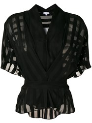Lala Berlin Sheer Short Sleeve Blouse Black